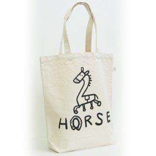 【メール便OK】studio coote スタジオクート 小西慎一郎 モノクロアニマル トートバッグ キャンバス地 Mサイズ 10リッター 〔2〕HORSE