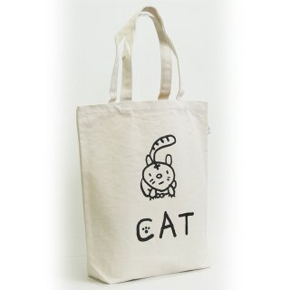 【メール便OK】studio coote スタジオクート 小西慎一郎 モノクロアニマル トートバッグ キャンバス地 Mサイズ 10リッター 〔6〕CAT