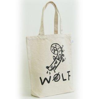 【メール便OK】studio coote スタジオクート 小西慎一郎 モノクロアニマル トートバッグ キャンバス地 Mサイズ 10リッター 〔9〕WOLF