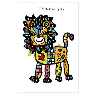 【メール便OK】studio coote スタジオ クート 小西慎一郎 ベニヤアニマルポストカード [Thank you ライオン]