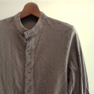 ISAMU KATAYAMA BACKLASH ウールコットンリネン製品染めノーカラーシャツ(1625-02)GRY