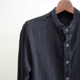ISAMU KATAYAMA BACKLASH ウールコットンリネン製品染めノーカラーシャツ(1625-02)BLK