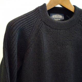 YOHJI YAMAMOTO REGULATION丸首裾ラウンドセーター(HR-K51-189)BLK