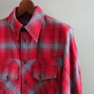 ISAMU KATAYAMA BACKLASH シルクコットン&カーフレザー製品洗いチェックシャツ(1592-01)RED