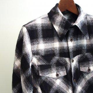 ISAMU KATAYAMA BACKLASH シルクコットン&カーフレザー製品洗いチェックシャツ(1592-01)BLK