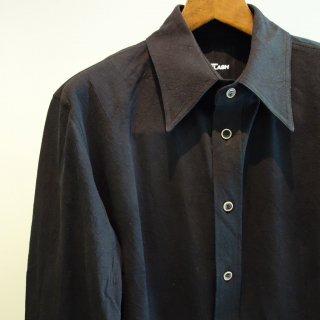 ISAMU KATAYAMA BACKLASH コットン レーヨン形態塩縮レギュラーカラーシャツ(1660-01)BLK