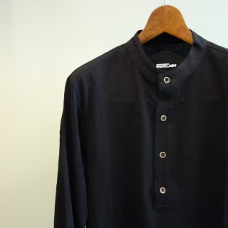 ISAMU KATAYAMA BACKLASH コットン レーヨン形態塩縮スタンドカラーシャツ(1660-02)BLK