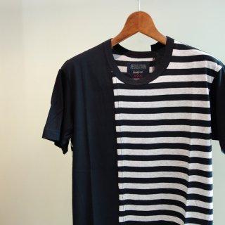 YOHJI YAMAMOTO 縦切替ボーダーTシャツ(HD-T55-281)BLK