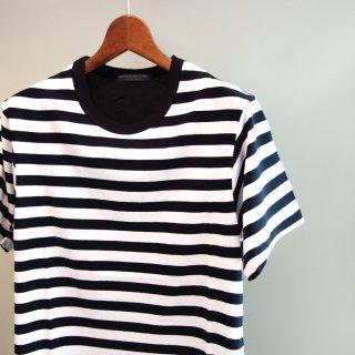 YOHJI YAMAMOTO 右スリットボーダーTシャツ(HD-T53-280)BLK