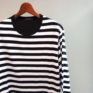 YOHJI YAMAMOTO 右スリットボーダーロングTシャツ(HD-T54-280)BLK