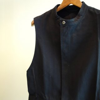 incarnation denim 11oz cotton100%stand collar btn/f sleeveless shirt unline(11483-2142)BLK