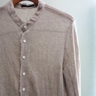 bajra リネン カラミネット スタンドカラーロングシャツ(125BS01)BGE