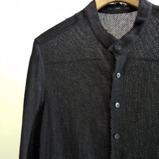 bajra リネン カラミネット スタンドカラーロングシャツ(125BS01)BLK