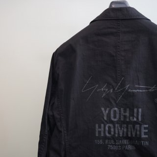 YOHJI YAMAMOTO ワークシャツジャケット スタッフプリント(HK-Y99-004)BLK