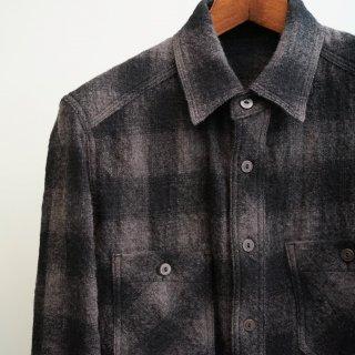 ISAMU KATAYAMA  BACKLASH 塩縮ウール チェックシャツ(1725-01)GRY