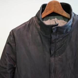 incarnation horse butt leather h/n zip/f blouson w/pkt lined(11513-4797)