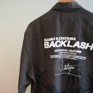 ISAMU KATAYAMA  BACKLASH USEDアロハシャツ 製品染め ロゴプリント(1612-46)WHT