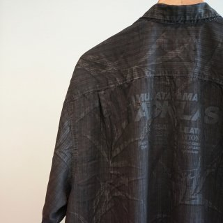 ISAMU KATAYAMA  BACKLASH USEDアロハシャツ 製品染め ロゴプリント(1612-46)BLK