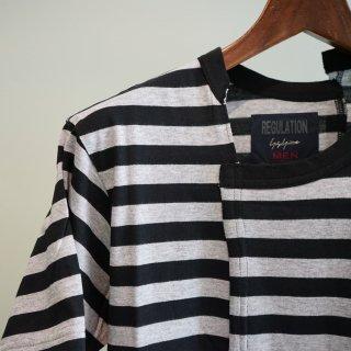 YOHJI YAMAMOTO タテ切り替えボーダーTシャツ(HW-T51-271)