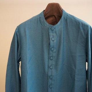 ISAMU KATAYAMA BACKLASH レーヨンコットン バンドカラー ロングシャツ(1822-02)BLU