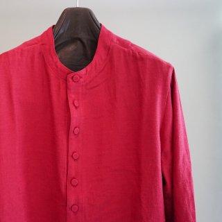 ISAMU KATAYAMA BACKLASH レーヨンコットン バンドカラー ロングシャツ(1822-02)RED