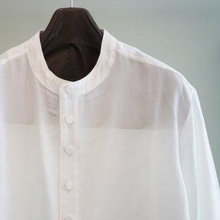 ISAMU KATAYAMA BACKLASH レーヨンコットン バンドカラー ロングシャツ(1822-02)WHT
