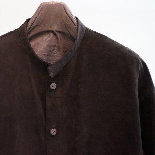 ISAMU KATAYAMA BACKLASH カンガルー スウェード ノーカラーシャツ(1497-14)BLK