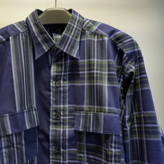 ADANS SEPARATE CHECK×STRIPE SHIRTS(AD201SH02)NVY