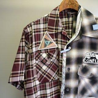 Maison MIHARA YASUHIRO mix pattern half sleeve shirts(A04SH151)BLK