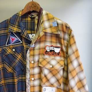 Maison MIHARA YASUHIRO mix pattern half sleeve shirts(A04SH151)YEL