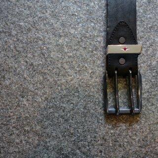 BACKLASH ダブルショルダー製品染め2ピンバックルベルト SILVERルビー(318-13)BLK
