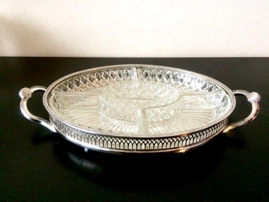 Silver Plated /Cavalier/ シルバープレイテッド・キャバリエ社・ガラス付きオードブルトレイ30.5×21.5cm・イングラ…