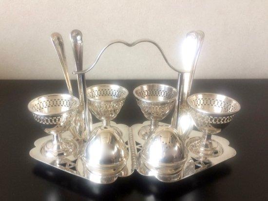 Silver Plated/EPNS England Egg stand & Salt&Pepper set(シルバープレイテッド エッグスタンド&ソルト&ペッパーセッ…