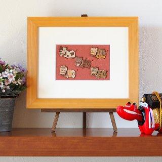 木はり絵アート「赤べこカーニバル」(額縁入り完成品)
