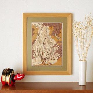 【送料無料】木はり絵アート「下野黒髪山きりふりの滝」(額縁入り完成品)