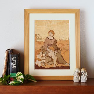 【送料無料】木はり絵アート「ベルヴェデーレの聖母」(額縁入り完成品)