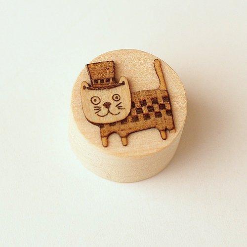 【ゆうメール送料無料】木はり絵マグネット「ぼうしネコ」