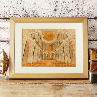 【送料無料】木はり絵アート「ヴェルサイユ宮殿」(額縁入り完成品)