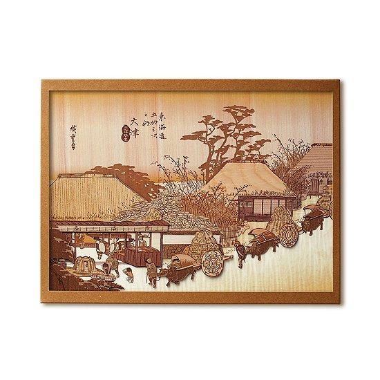 【送料無料】木はり絵手作りキット「大津 走井茶屋」