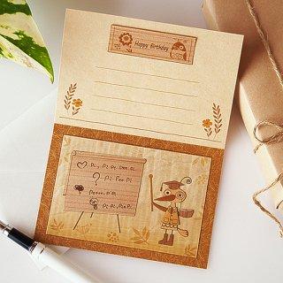 【送料無料】木はり絵グリーティングカード「学校の先生」