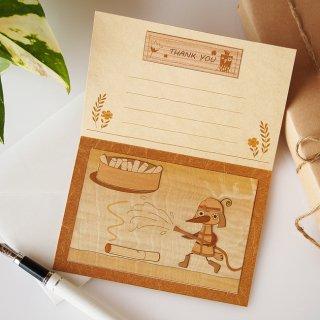 【送料無料】木はり絵グリーティングカード「消防士」