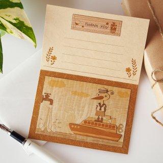 【送料無料】木はり絵グリーティングカード「水兵さん」