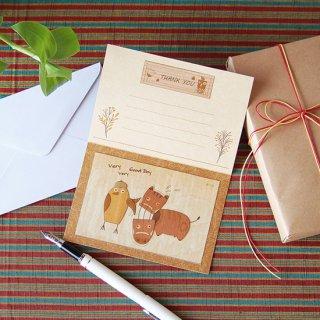 【送料無料】木はり絵グリーティングカード「赤べこ」