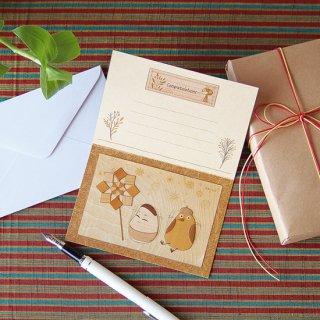 【送料無料】木はり絵グリーティングカード「起き上がり小法師」