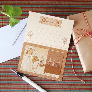 【送料無料】木はり絵グリーティングカード「野口英世」
