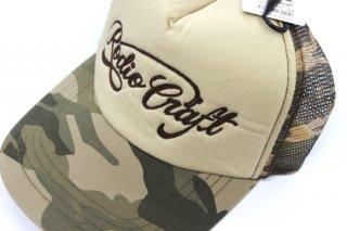 ロデオクラフト コットンメッシュキャップ #ブラウンカモ�×チェーン刺繍