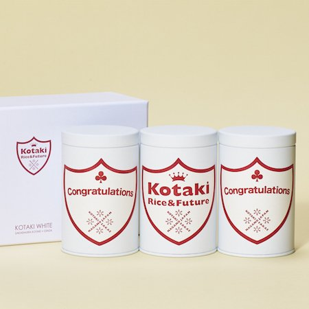 希少米!コタキホワイトギフトCAN「Congratulations」ラベルギフトボックス(3個入)
