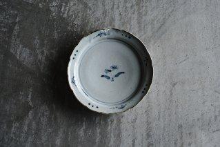 染付菫文五寸輪花リム皿