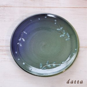 やちむんの葉模様中皿 グラデーション7寸皿/101-5