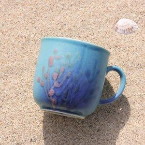 やちむんカップ〈結婚祝い〉〈引出物〉沖縄の珊瑚カップ|おしゃれなギフト/藍1/ダッタ通販